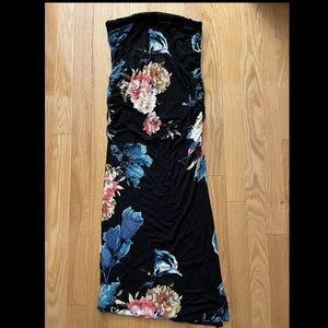 Nevada Maxi Skirt in Black with Bold Floral Print